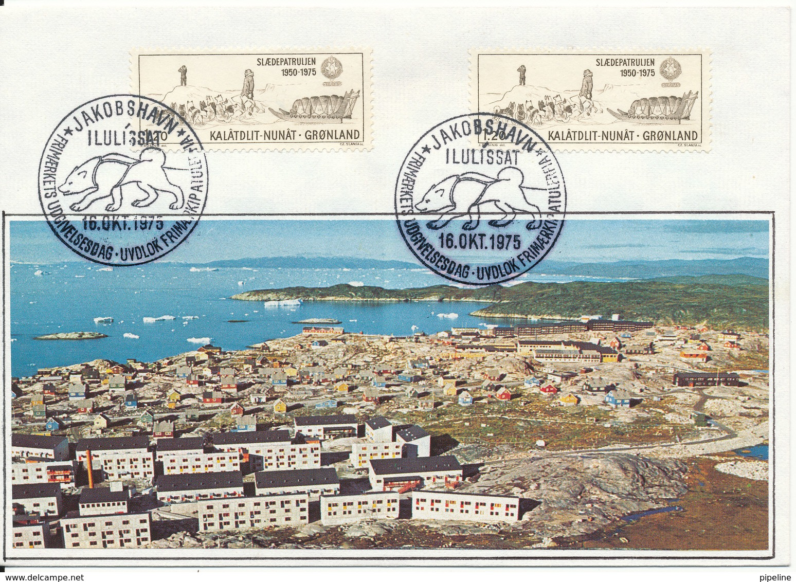 Greenland FDC Home Made Cover With 2 Stamps 16-10-1975 Dogsledge SIRIUS 25th.Anniversary - Groenlandia