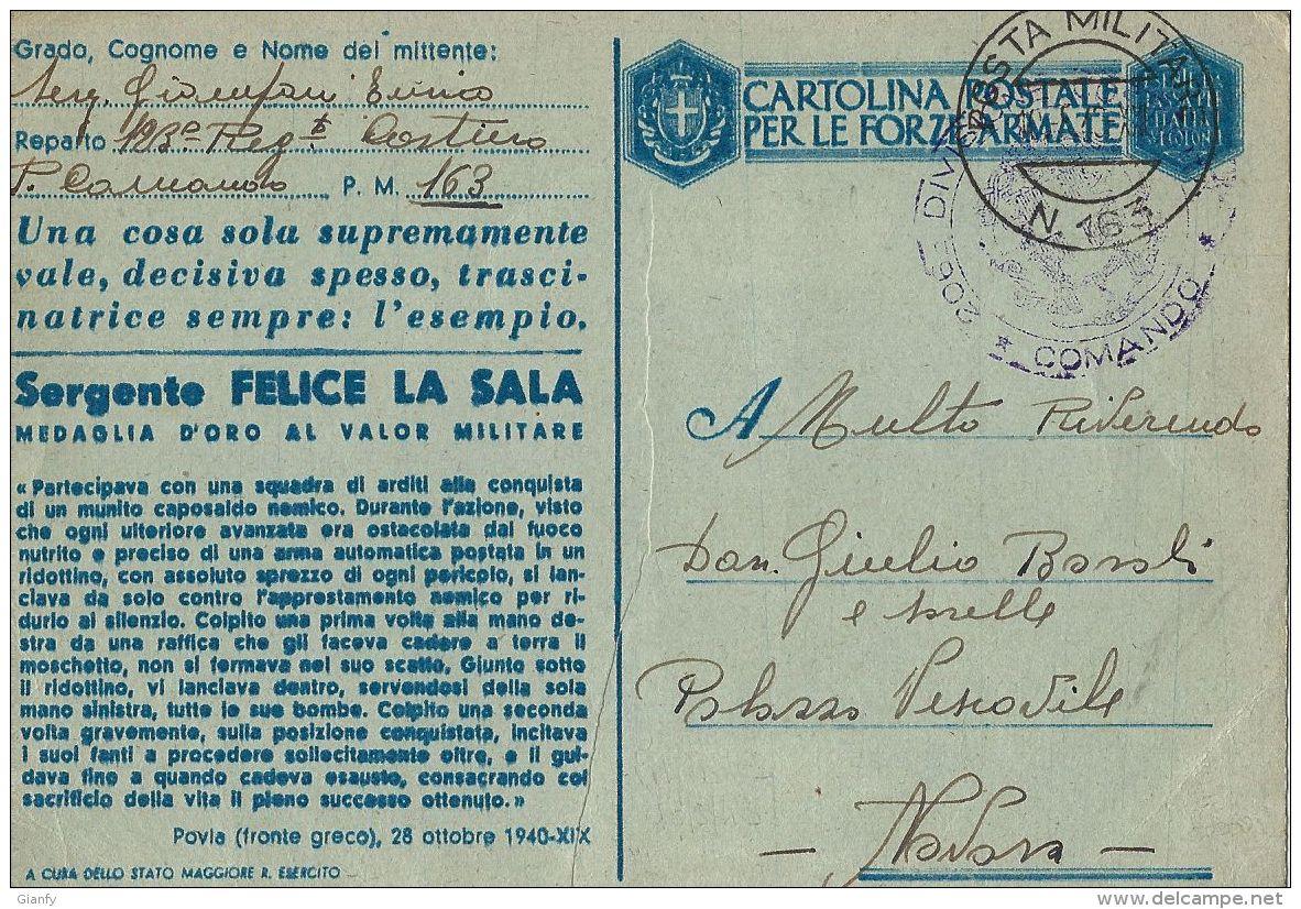 FRANCHIGIA POSTA MILITARE 163 1943 MODICA X NOVARA MEDAGLIA ORO LA SALA - Militaire Post (PM)