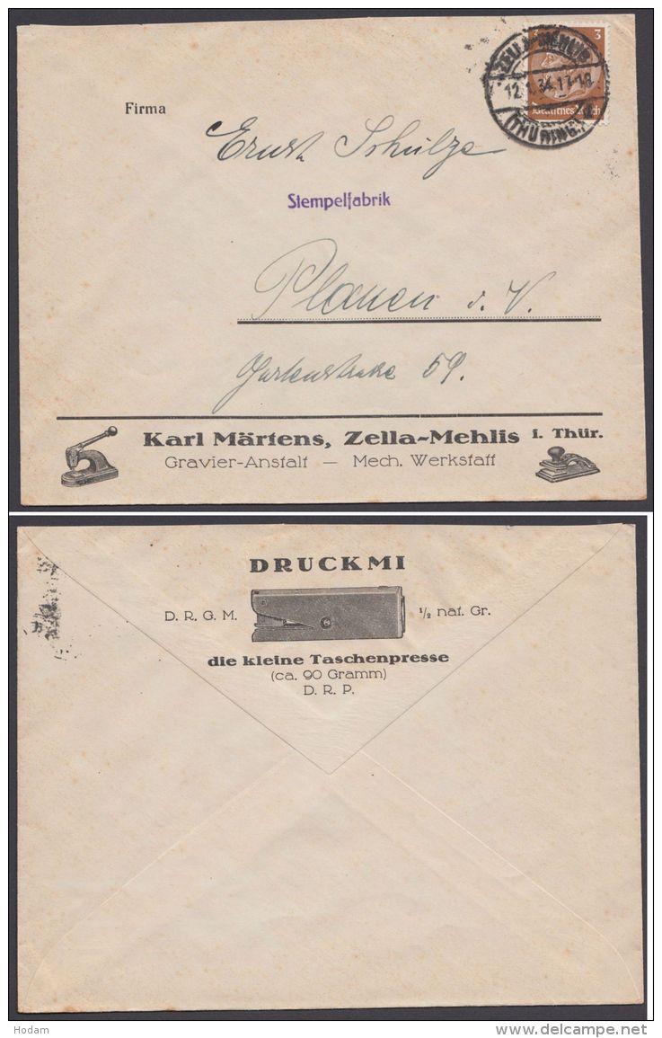 """Mi-Nr. 482, EF, Dek. Werbebrief """"Zella- Mehlis"""", Karl Märtens, Gravier- Anstalt - Deutschland"""