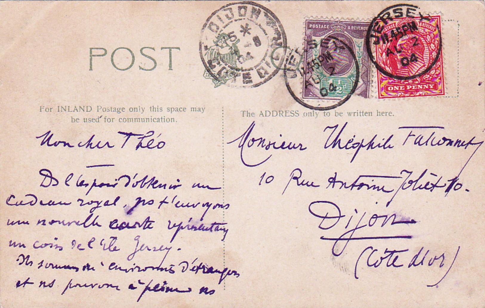 Jersey 1904 Pour Dijon France - Postmark Collection