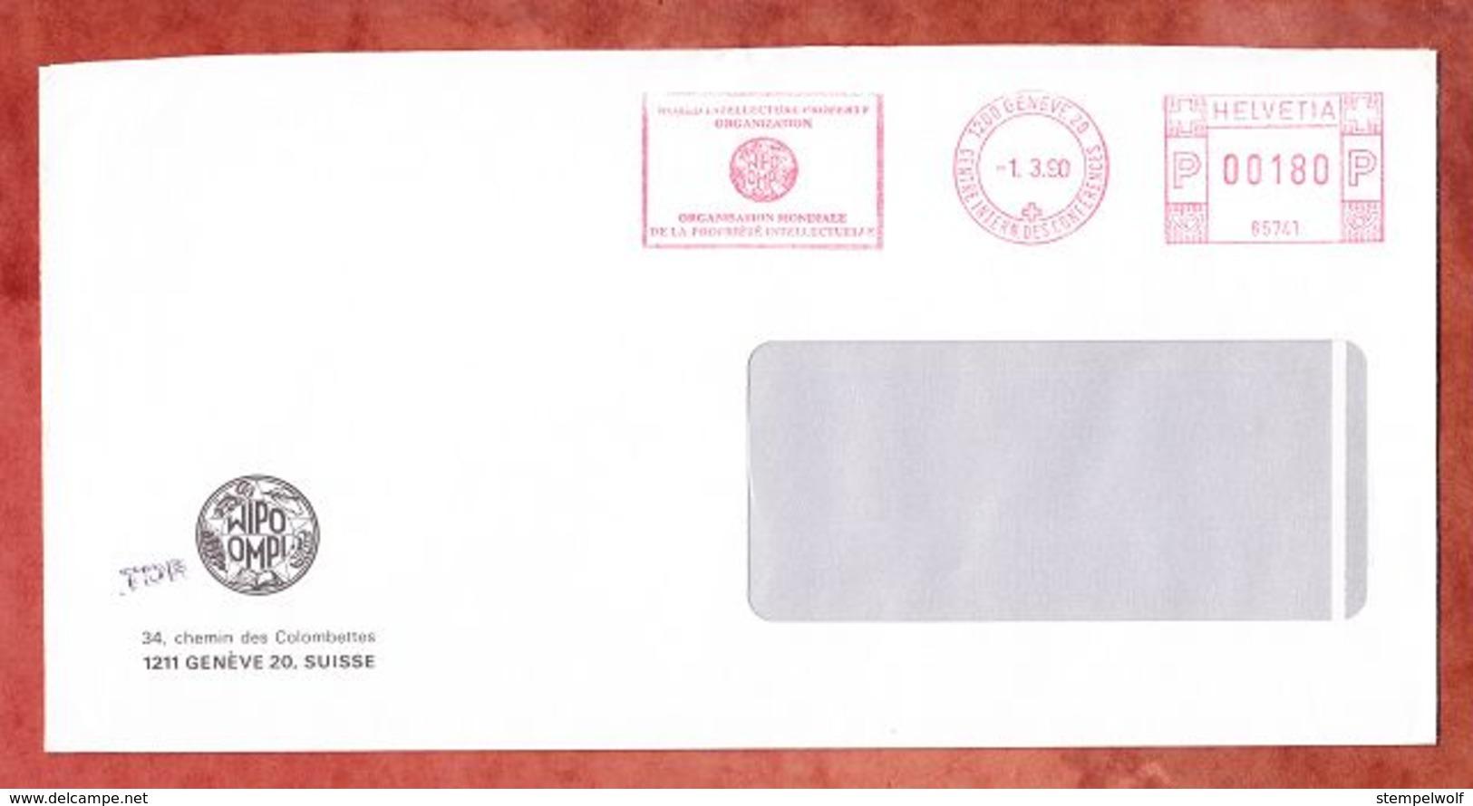Brief, Absenderfreistempel, Wipo Ompi, Geneve 1990 (49816) - Marcophilie