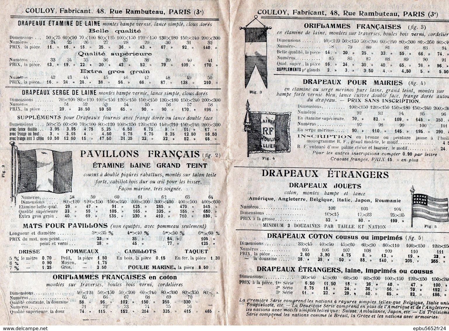 Catalogue COULOY 1925  Drapeaux , Bannières, Insignes Et Articles Divers Pour Stés--Ancienne Maison LHARMONIER - 1900 – 1949