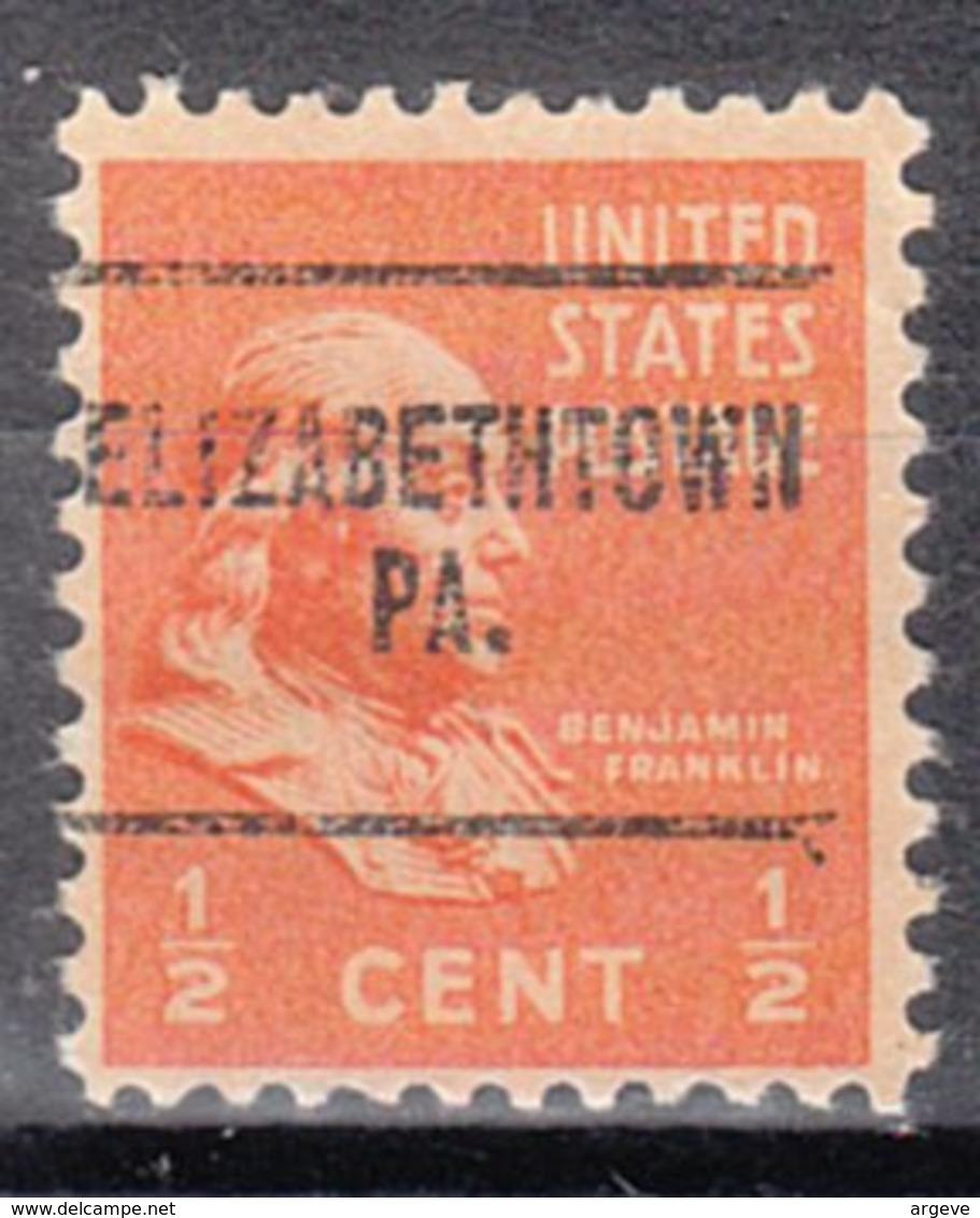 USA Precancel Vorausentwertung Preo, Locals Pennsylvania, Elizabethtown 704 - Vorausentwertungen