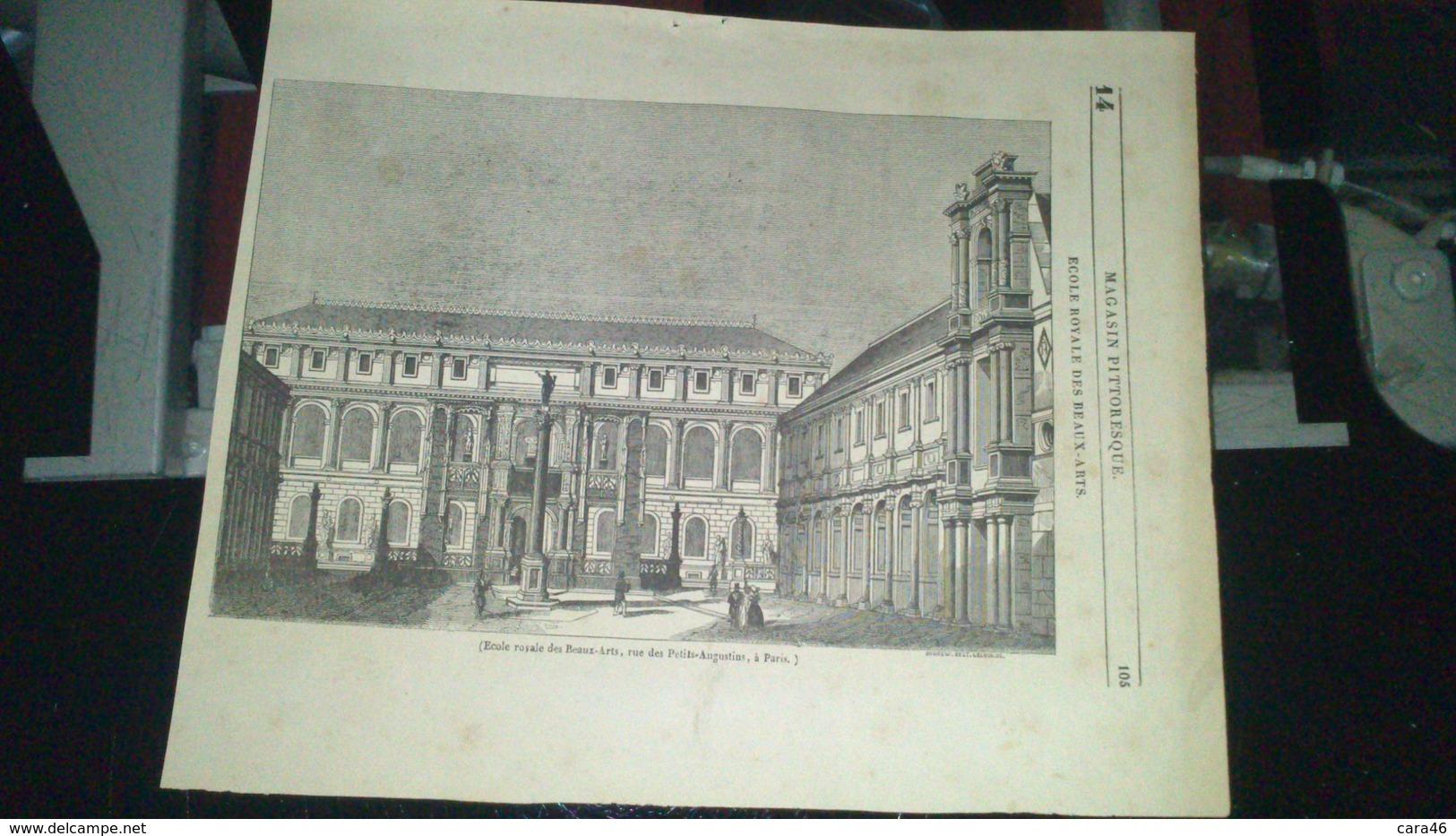 Affiche (gravure) - Ecole Royale Des BEAUX ARTS à PARIS - Affiches