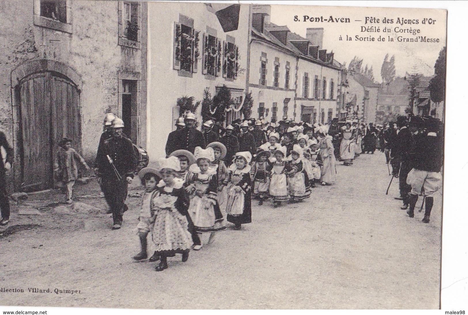PONT -  AVEN,,,,FETE Des  AJONCS  D' OR,,,,DEFILE Du CORTEGE A La  SORTIE De La  GRANDE MESSE,,,, TBE,,,,rare,,,, - Pont Aven