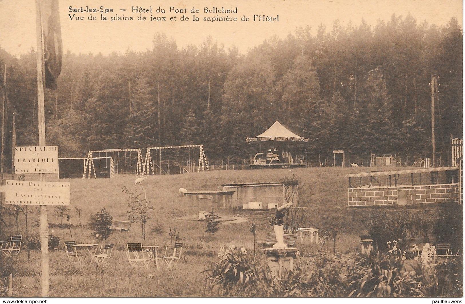 Spa, Hôtel Du Pont De Belleheid, Avec Timbre De Poste 1938, Vue De La Plaine De Jeux Et De La Sapinière De L'Hôtel - Spa