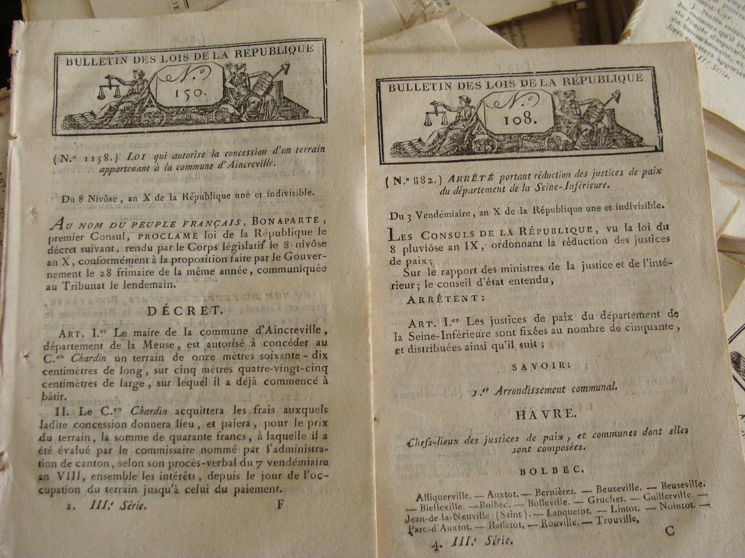 LOT DE 950 BULLETINS DES LOIS PRINCIPALEMENT ENTRE 1795 ET 1825  NAPOLEON REVOLUTION FRANCAISE RESTAURATION - Décrets & Lois