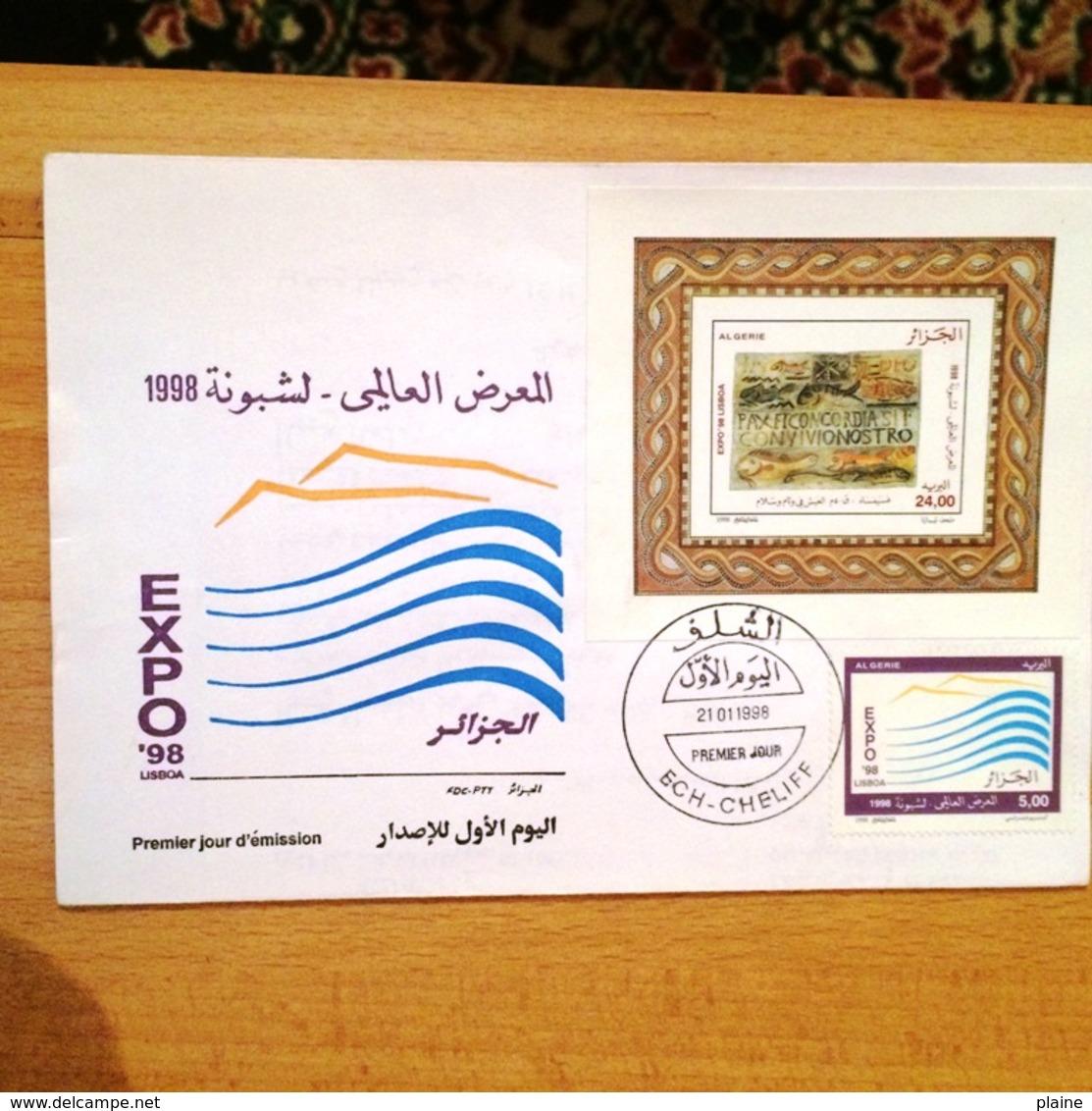 """ALGERIE- FDC PREMIER JOUR """"EXPO 98 LISBOA"""" 21/01/1998 - Algérie (1962-...)"""