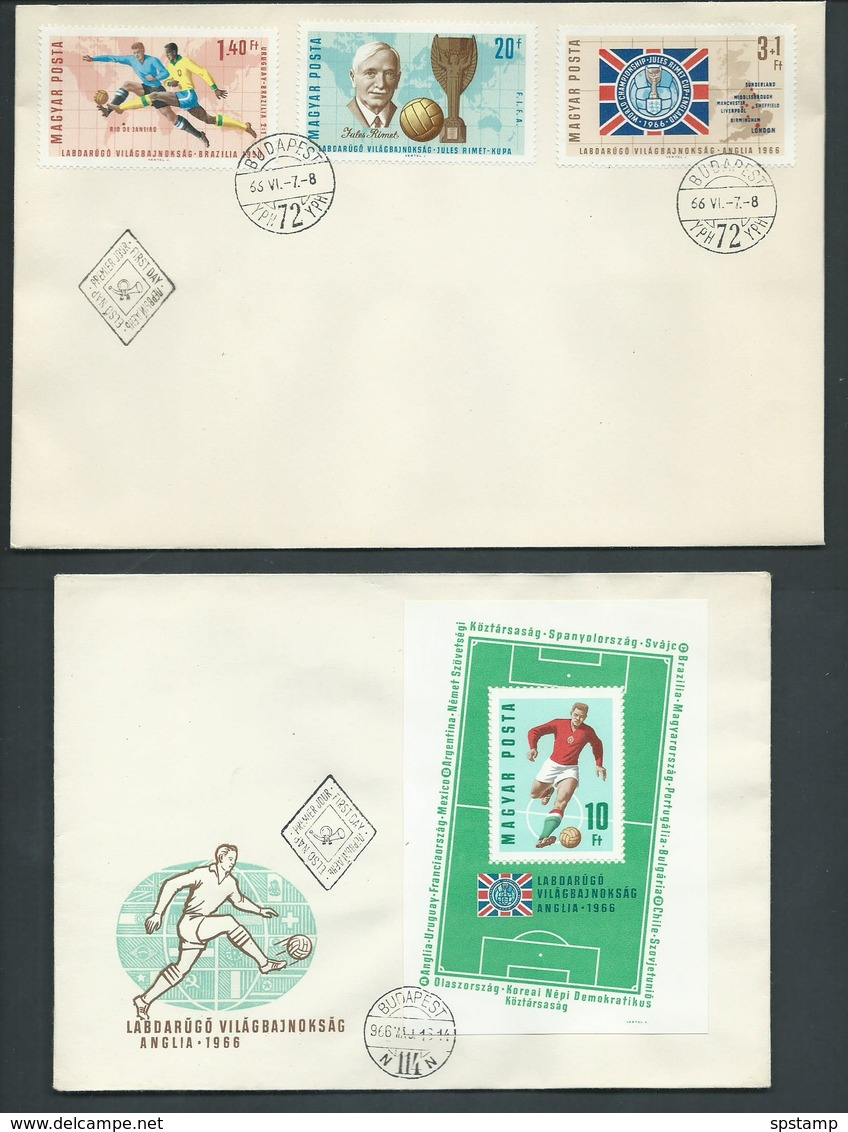 Hungary 1966 Soccer World Cup UK Set Of 9 & Miniature Sheet On 4 FDC Fine Unaddressed - Hungary
