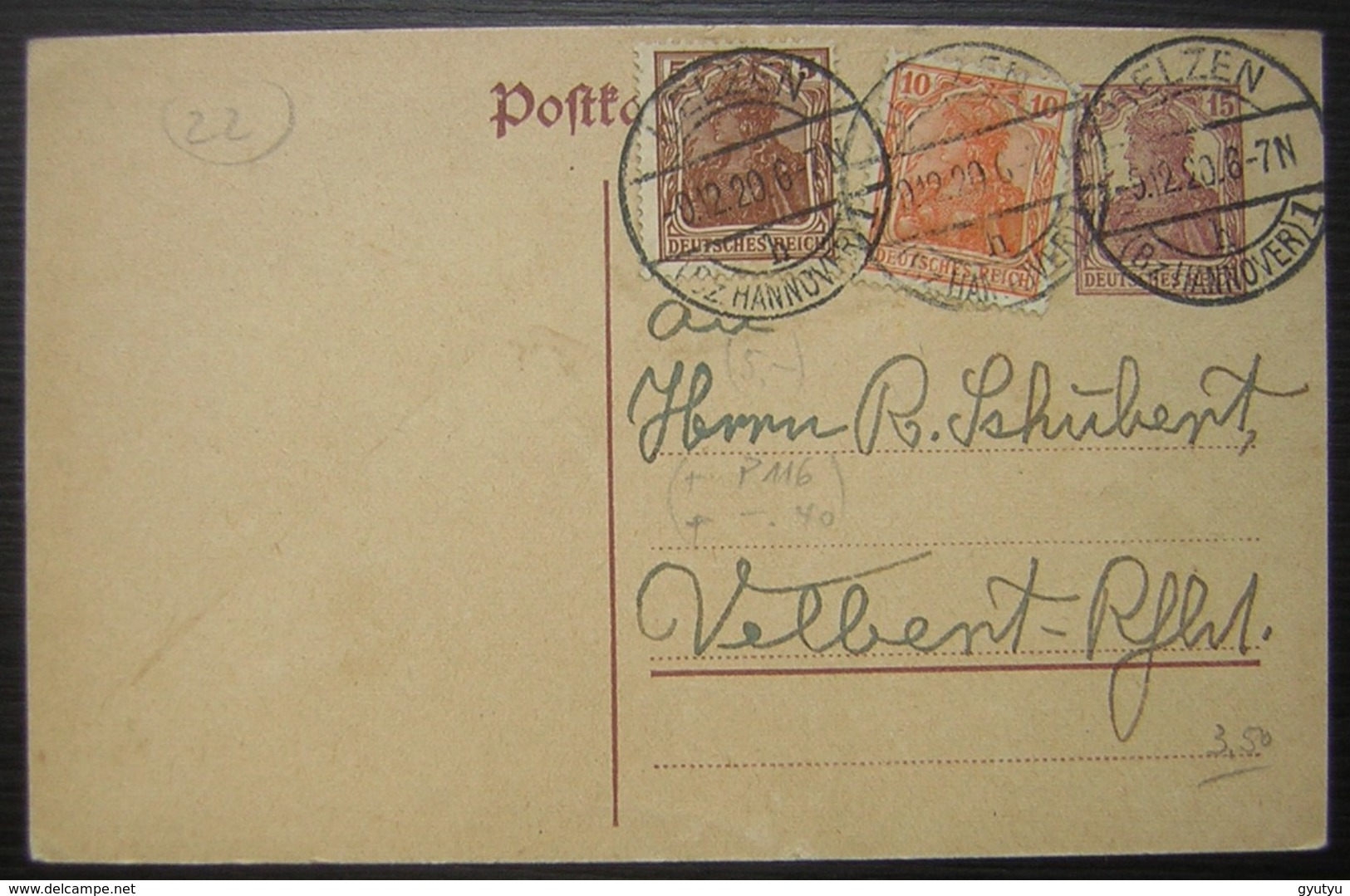 1920 Helzen Entier Postal Avec Complément D'affranchissement ( Deutsches Reich Allemagne) - Deutschland