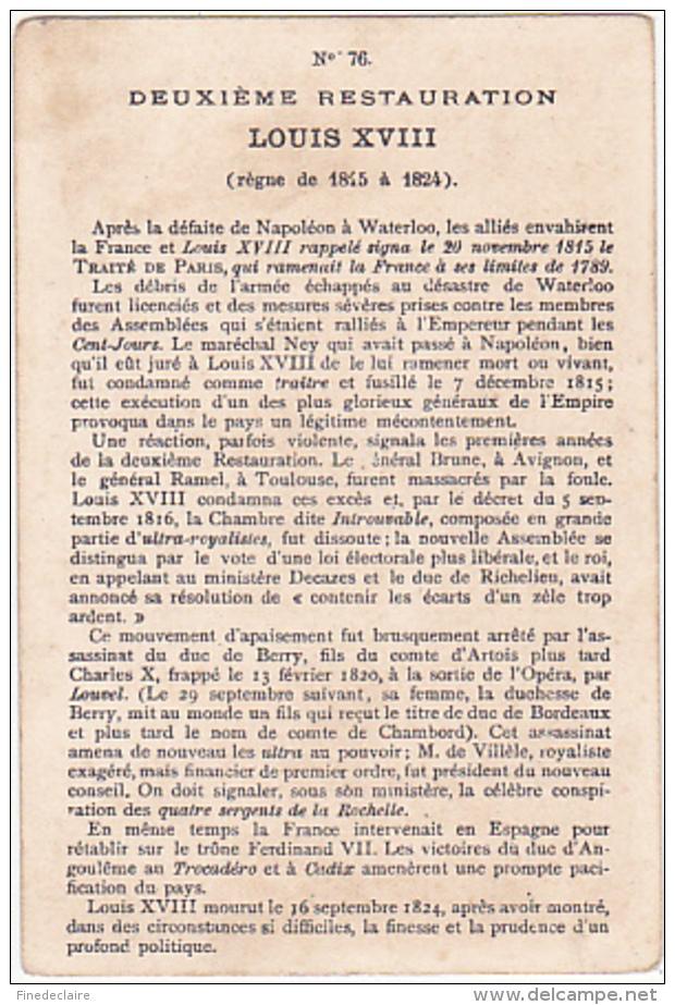 Chromo - Deuxième Restauration Louis XVIII - N°76 - Chromos