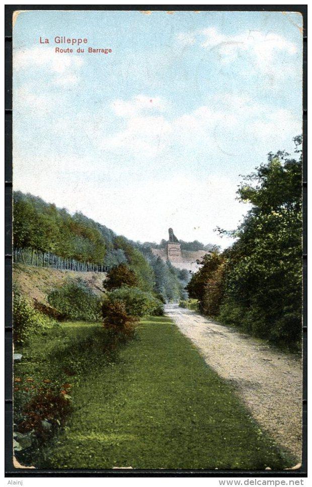CP   La Gi!leppe   ---  Route Du Barrage  -- Colorisé - Gileppe (Stuwdam)