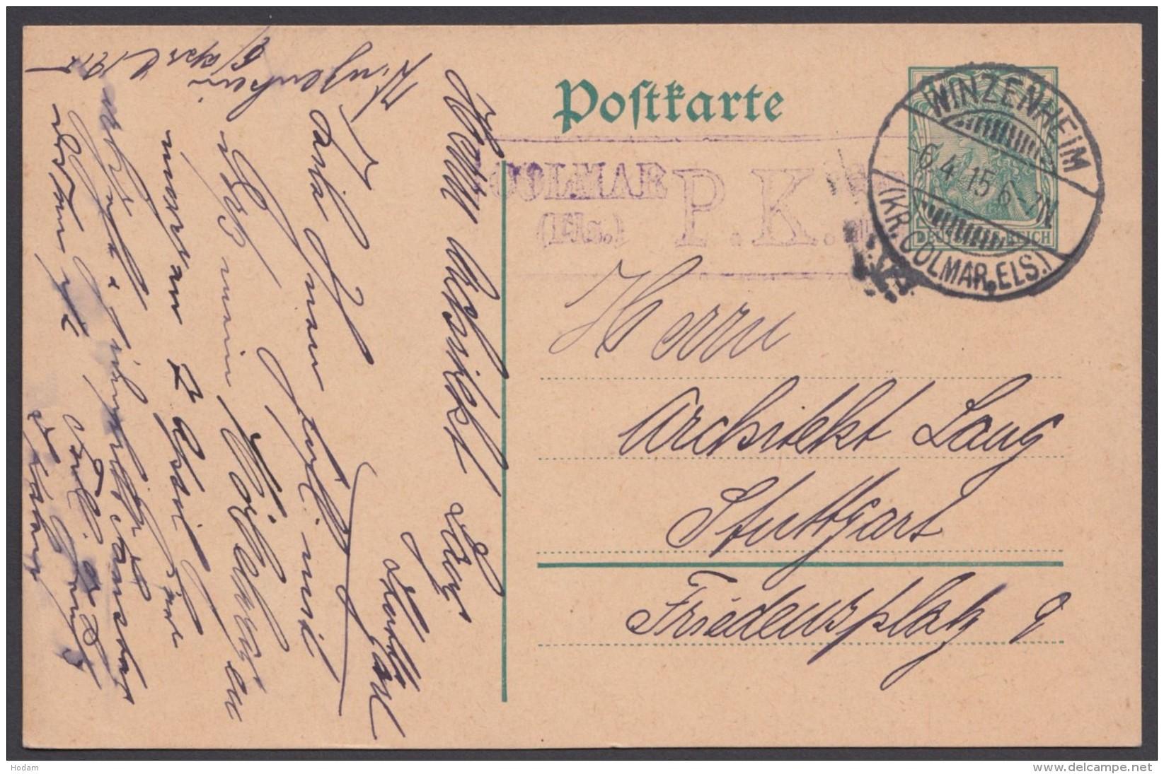 """P 96, Bedarf """"Winzenheim/Els."""", 6.4.15 Mit Zensur - Deutschland"""