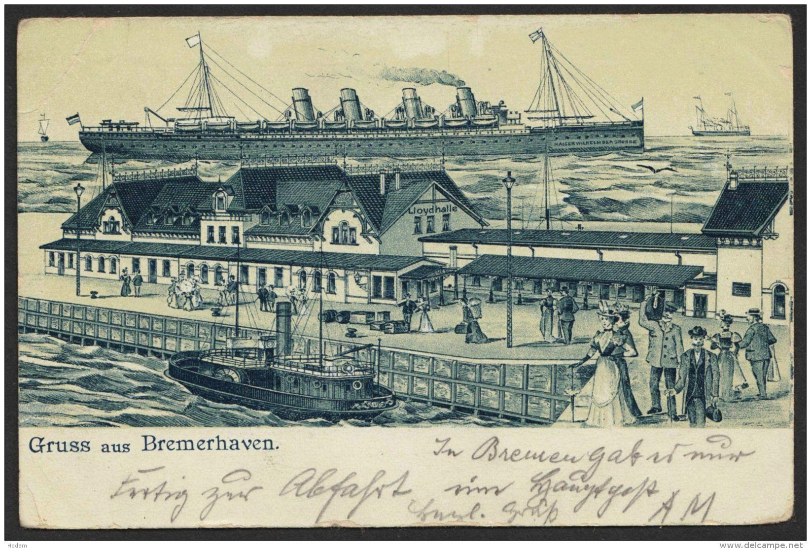 """""""Bremerhaven"""", Hafen Mit Überseedampfer, 1901 Gelaufen - Bremerhaven"""