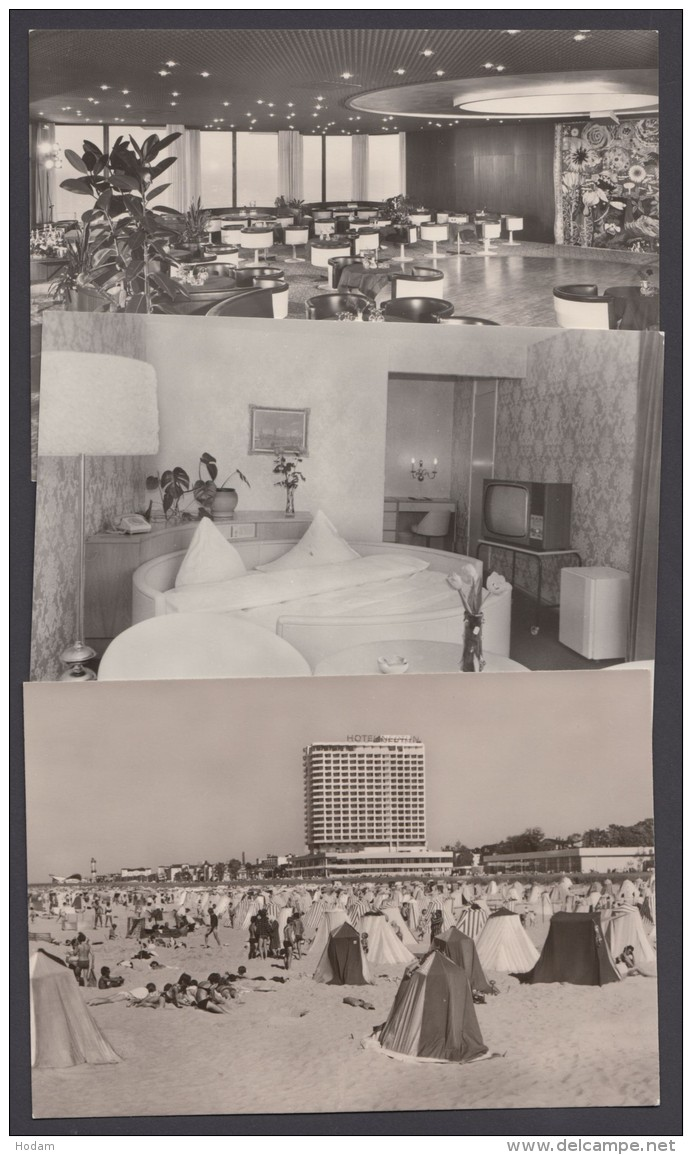 """""""Warnemünde"""", Hotel Neptun, 3 Fotokarten, Dabei 2x Innenansicht, 1973/4 - Rostock"""