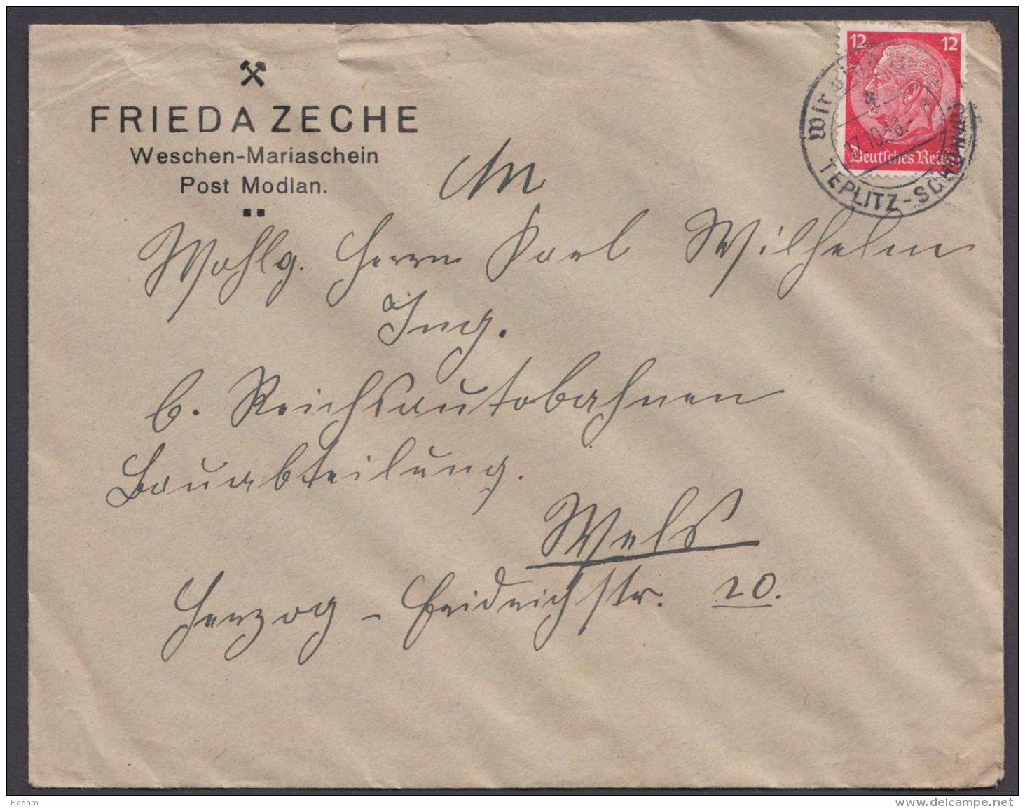 """MiNr. 519, Propaganda-Stempel """"Teplitz-Schönau"""" Wir Sind Frei, 17.10.38 - Deutschland"""