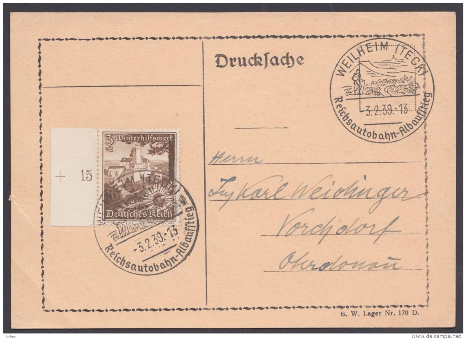 """MiNr. 675, Propaganda-Stempel """"Weilheim"""", Reichsautobahn, 3.2.39 - Deutschland"""