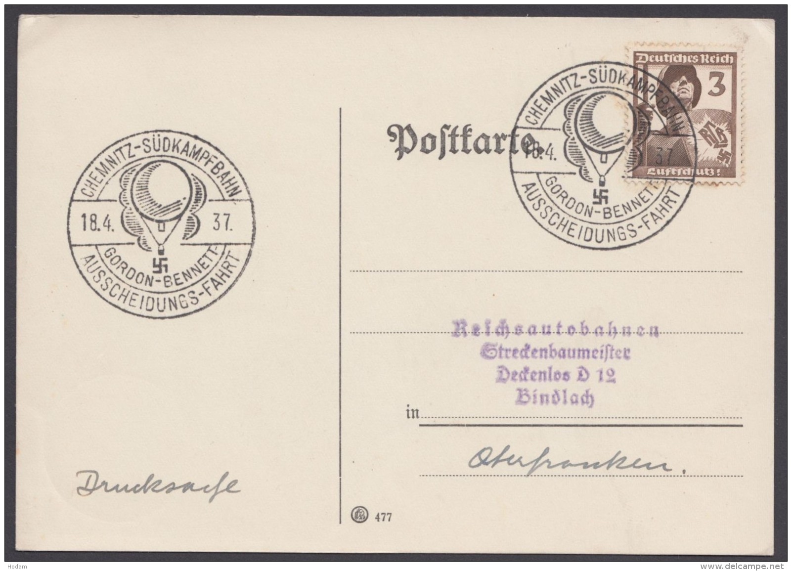 "MiNr. 643, Propaganda-Stempel ""Chemnitz"", Gordon-Bennett-Fahrt, 18.4.37 - Deutschland"