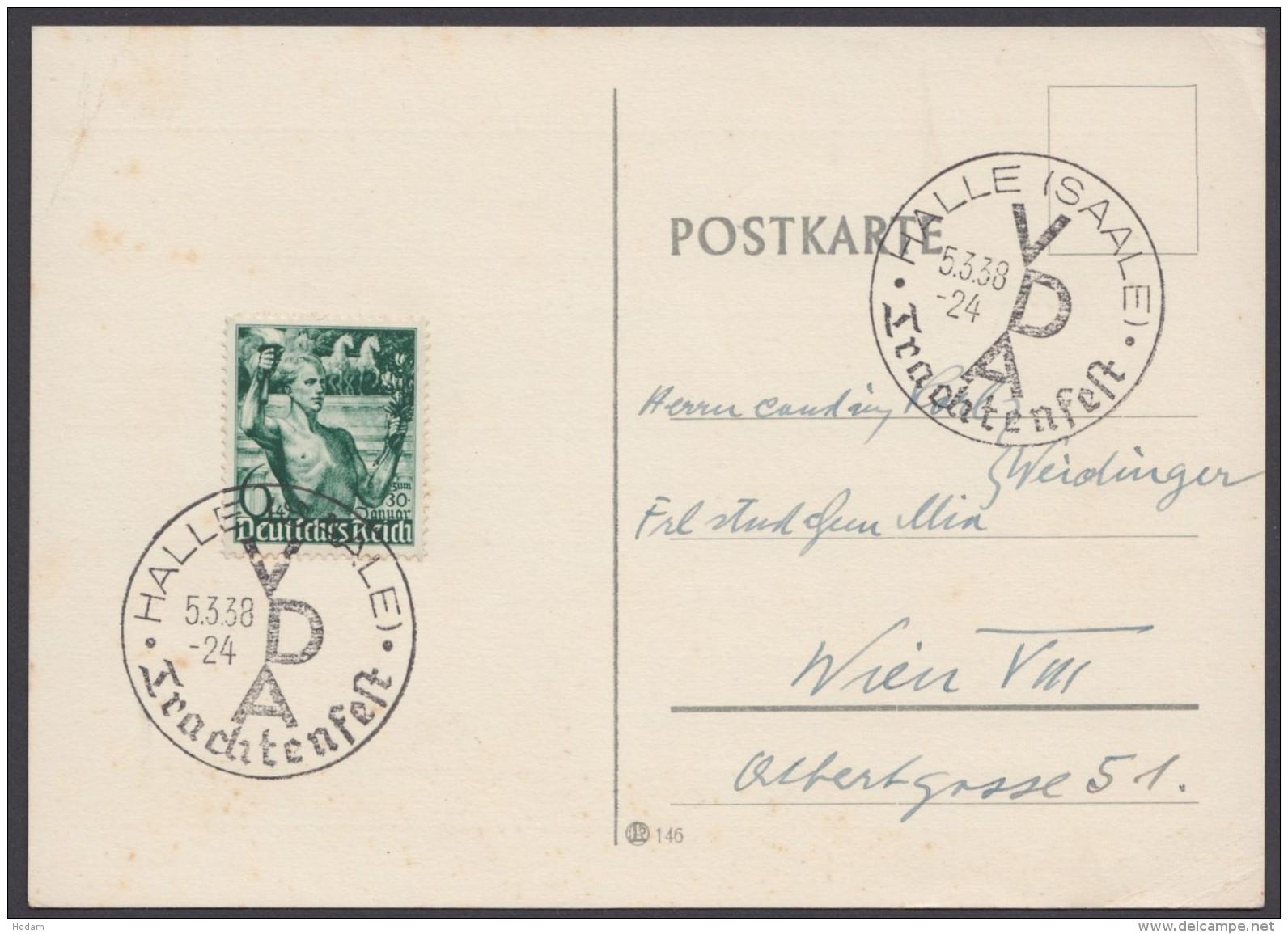"""MiNr. 660, Propaganda-Stempel """"Halle"""", Trachtenfest, 5.3.38 - Deutschland"""