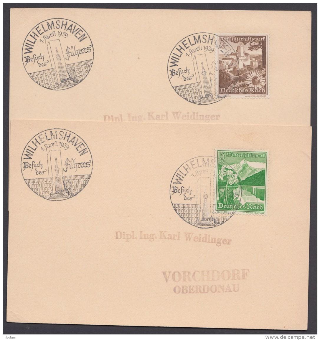 """MiNr. 675,677, Propaganda-Stempel """"Wilhelmshaven"""", Besuch Des Führers, 1.4.39, 2 Karten - Deutschland"""