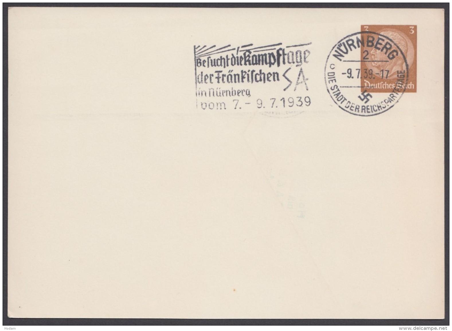 """PP 122 , Propaganda-Stempel """"Nürnberg"""", Kampftage SA, 9.7.39 - Deutschland"""