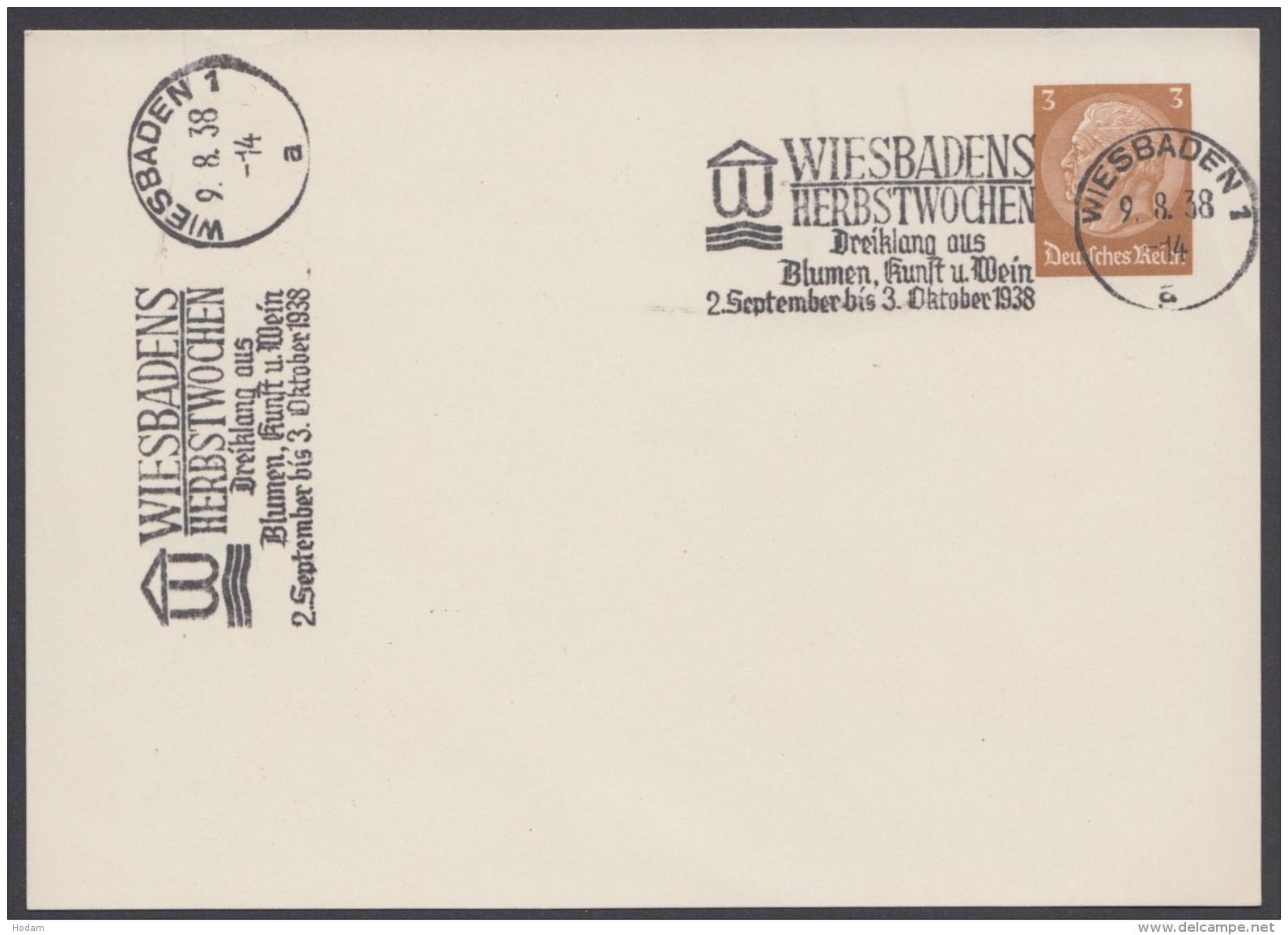 "PP 122 , Propaganda-Stempel ""Wiesbaden"", Herbstwochen"", 9.8.38 - Briefe U. Dokumente"
