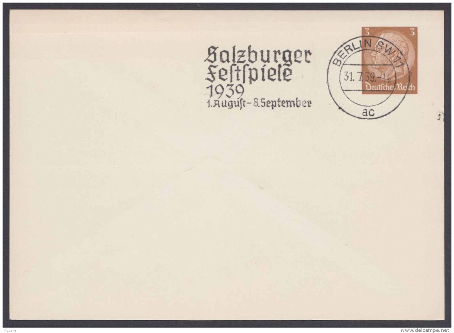 """PP 122 , Propaganda-Stempel """"Berlin"""", Salzburger Festspiele, 31.7.39 - Deutschland"""