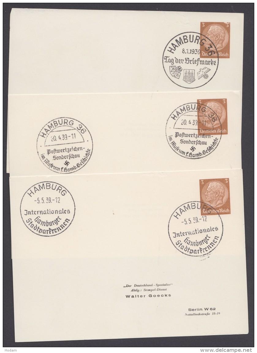"""PP 122 , Propaganda-Stempel """"Hamburg"""", 3 Karten Mit Versch. Sst Aus 1939, Dabei Stadtparkrennen - Deutschland"""