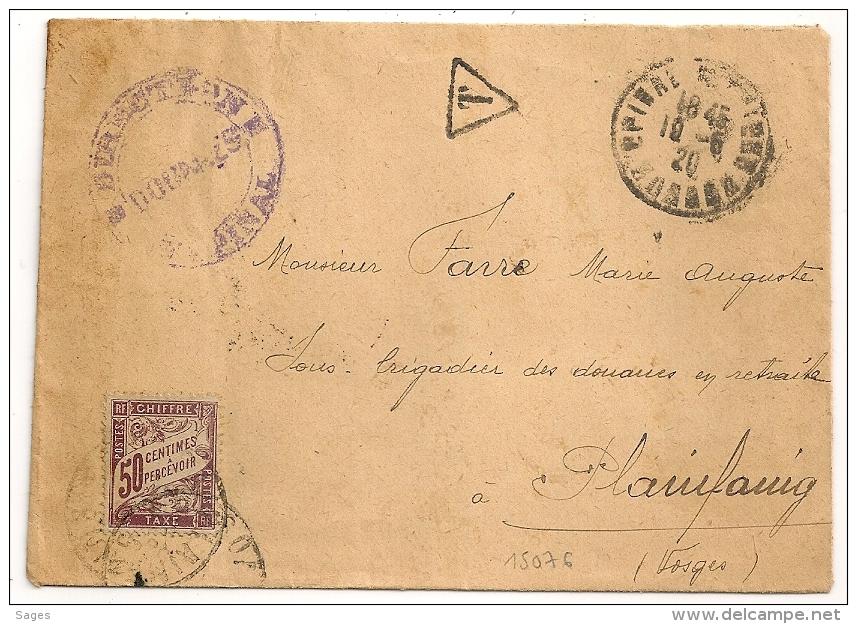 TAXE 50C, EPINAL Vosges Pour PLAINFAING. DOUANES. 1950. - Marcophilie (Lettres)