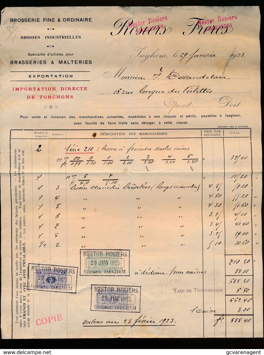IZEGEM 1923 - BROSSERIE FINE & ORDINAIRE -BRASSERIES & MALTERIES  ROSIERS FRERES - IZEGEM - Belgique