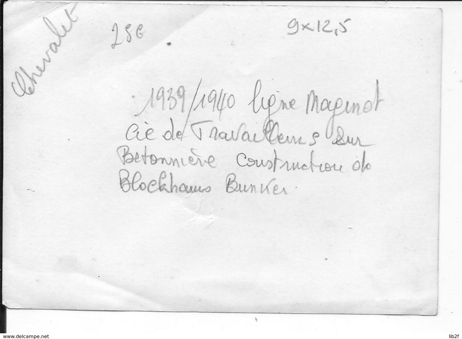 1939-1940 Ligne Maginot Soldats Francais Compagnie De Travailleurs Sur Bétonnière Construction De Blockhaus 1 Photo Ww2 - War, Military