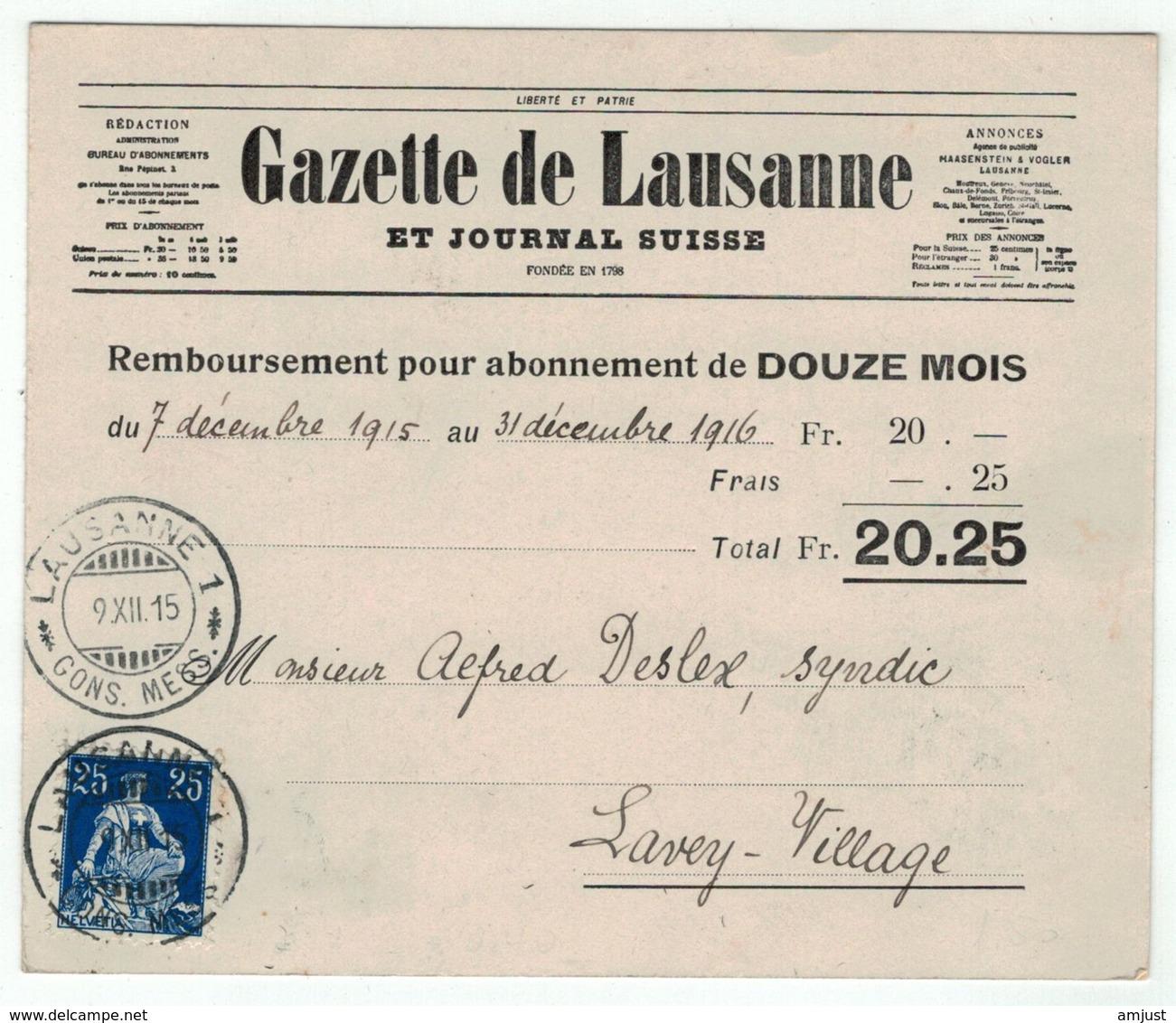 Suisse // Schweiz // Switzerland  // 1907-1939 // Carte Commerciale Au Départ De Lausanne Le 09.12.1915 - Suisse