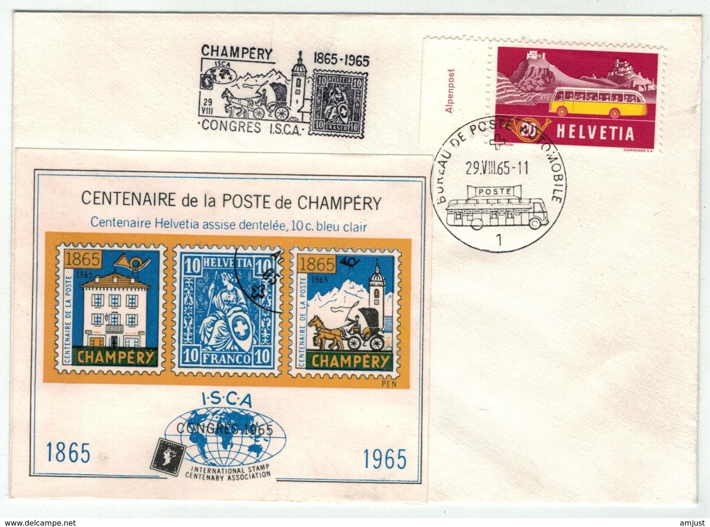Suisse // Schweiz // Switzerland  // 1960-1969 // Centenaire De La Poste De Champéry  Avec Bloc(Poste Automobile) - Lettres & Documents