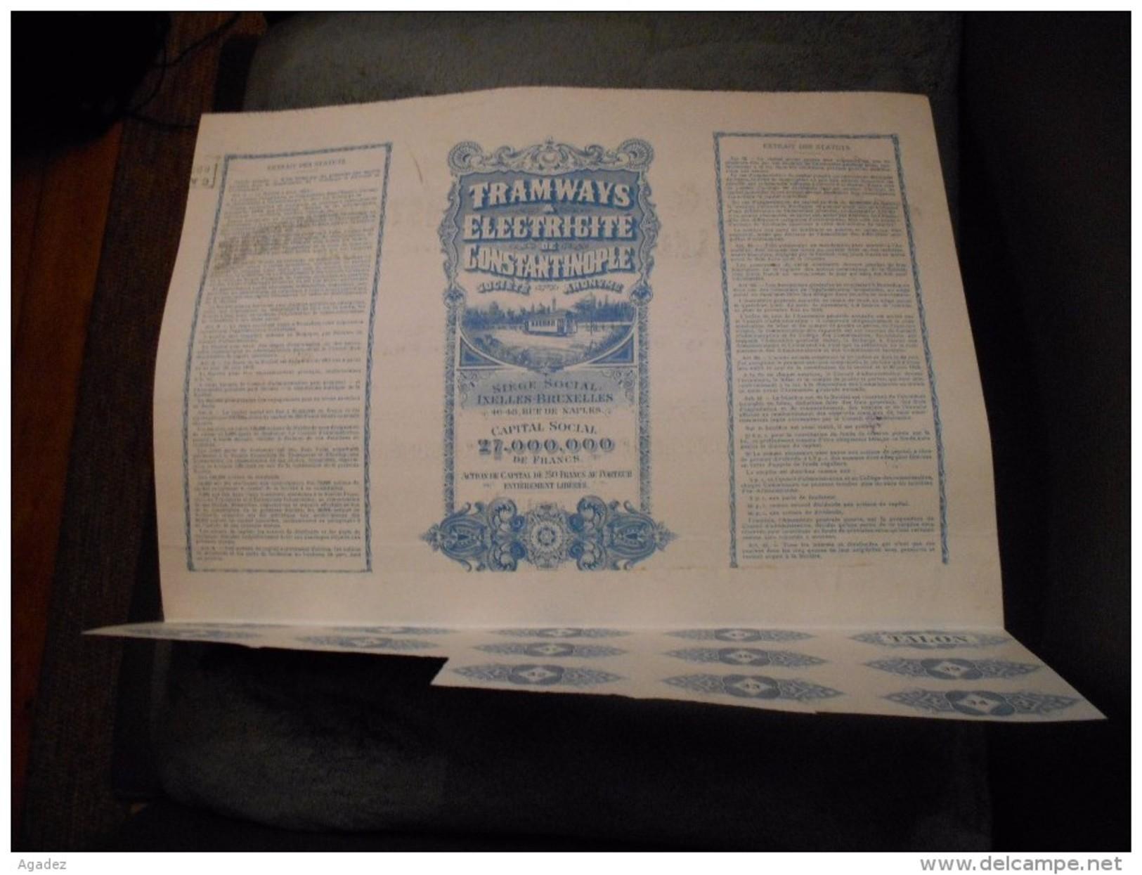 """Action De Capita L"""" Tramways Et Electricité De Constantinople """"  ( Istanbul, Turquie)1917 Reste Des Coupons - Chemin De Fer & Tramway"""