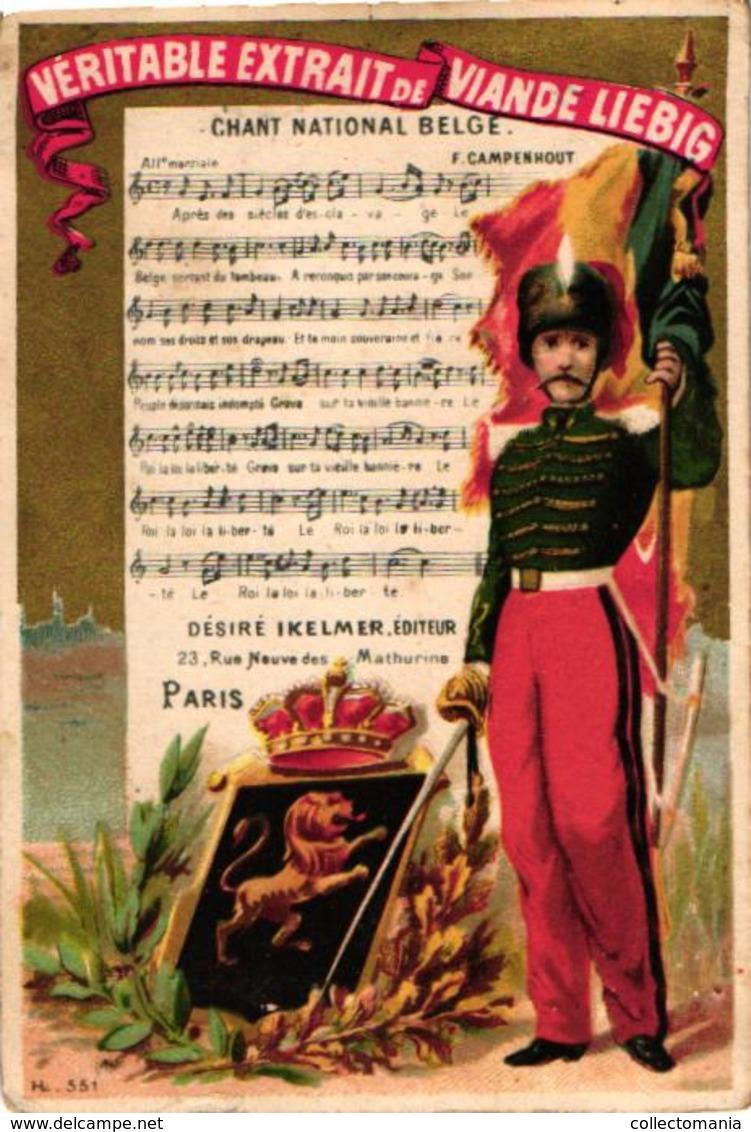 0090 LIEBIG's 90 -  8 Chromos 11c5X8cm Hymnes Nationaux, Flag Standard, Music Notes,  VERY RARE Complete Set Anno 1875 - Liebig