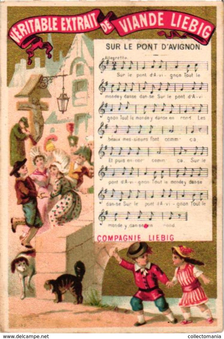 0067 LIEBIG's Nr67 -  8 Litho Chromos 11c5X8cm, Chansons Music Notes,  VERY RARE Complete Set Anno 1875 - Liebig