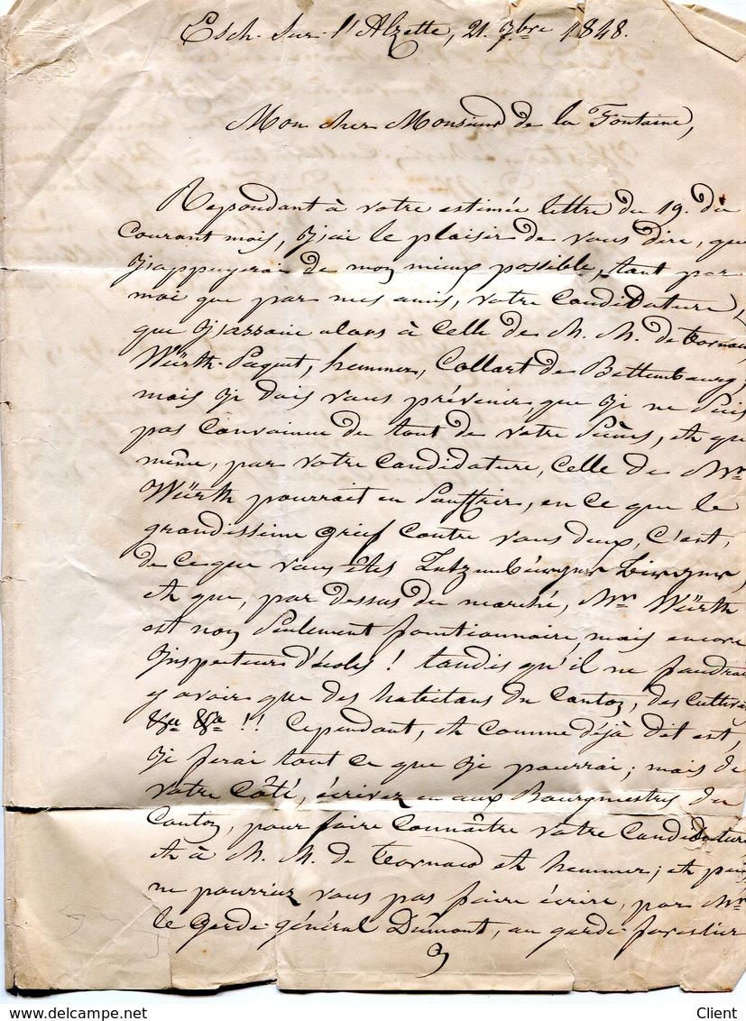 Luxembourg - Lettre Préphilatélie ESCH/ALZETTE Vers LUXEMBOURG 1848 - Luxembourg