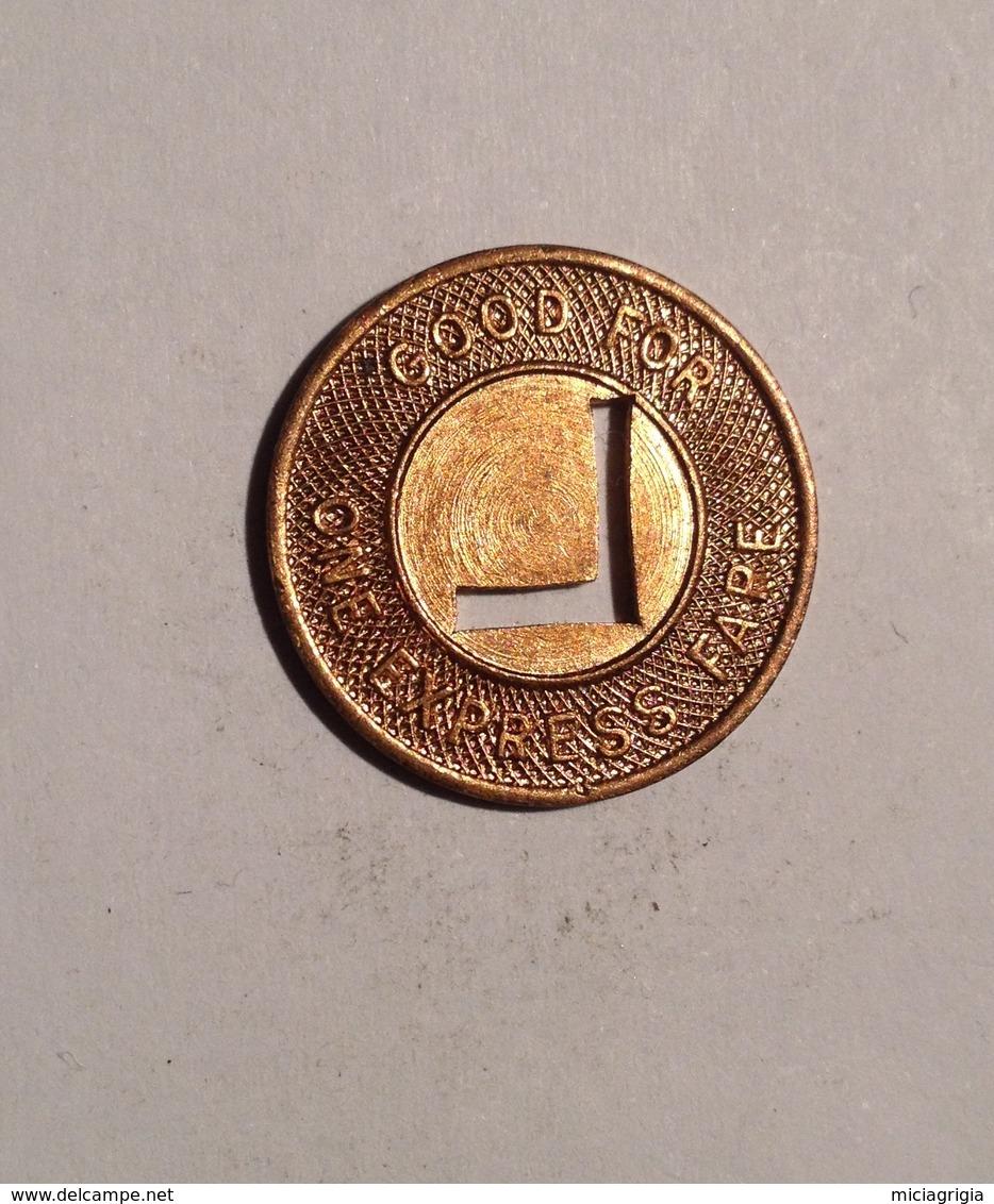 TOKEN JETON GETTONE TRASPORTO TRANSIT LOUISIANA ONE EXPREES FARE - Monétaires/De Nécessité