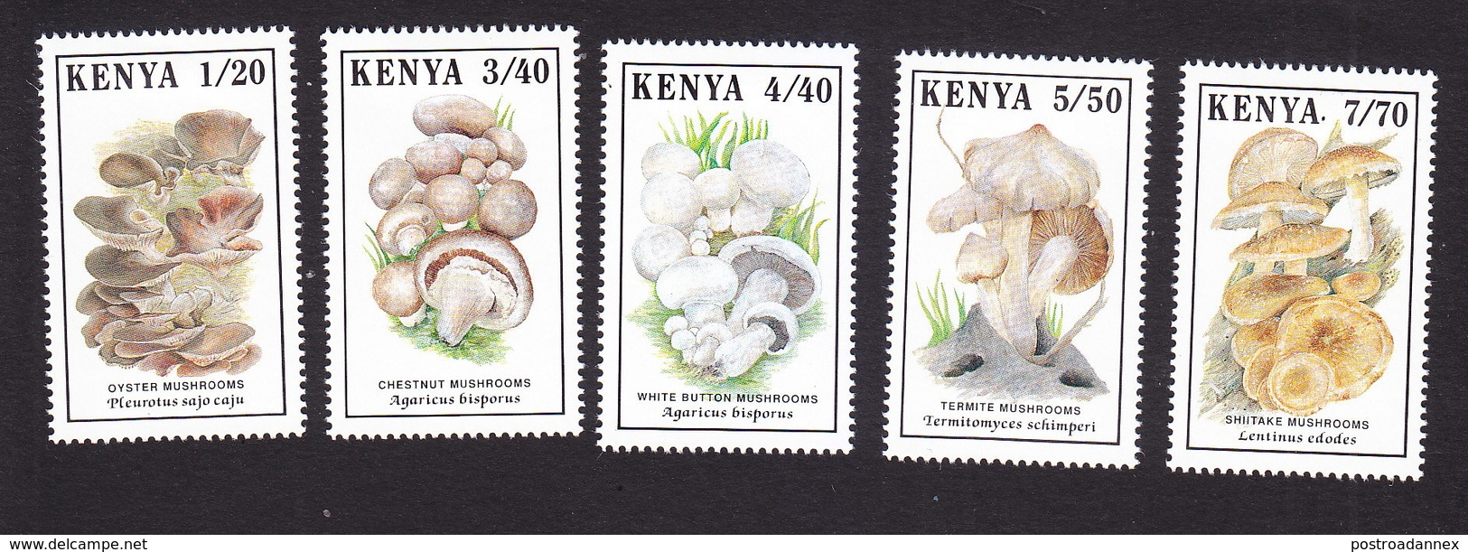 Kenya, Scott #496-500, Mint Hinged, Mushrooms, Issued 1989 - Kenya (1963-...)