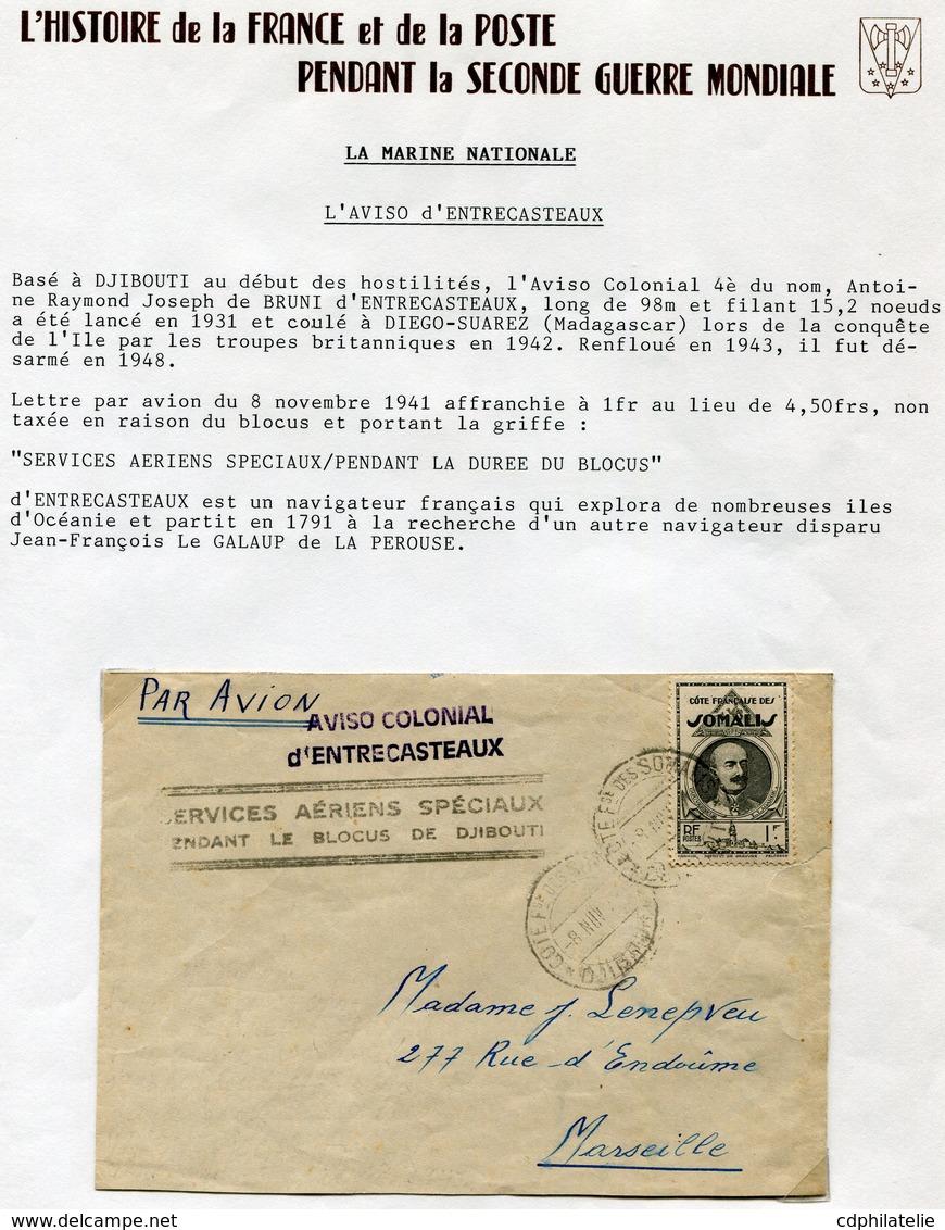 """COTE FRANCAISE DES SOMALIS LETTRE PAR AVION AVEC CACHET """"AVISO COLONIAL D'ENTRECASTEAUX"""" + CACHET SERVICES.. SPECIAUX... - Côte Française Des Somalis (1894-1967)"""