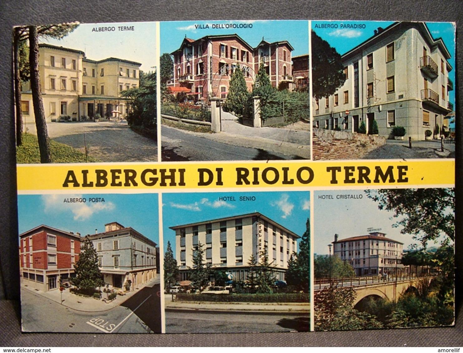 (FG.B26) ALBERGHI DI RIOLO TERME - VEDUTE (POSTA, SENIO, CRISTALLO, PARADISO, VILLA DELL'OROLOGIO) HOTEL ALBERGO - Ravenna