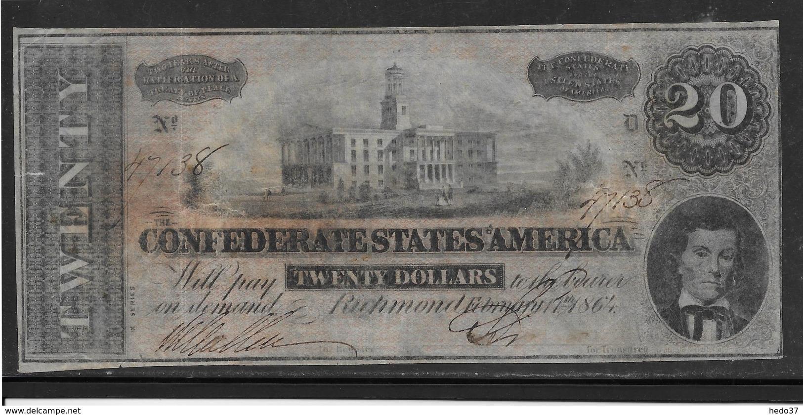 Etats Unis - Conférés Richmond 20 Dollars - Pick N°61 - TB/TTB - Confederate Currency (1861-1864)