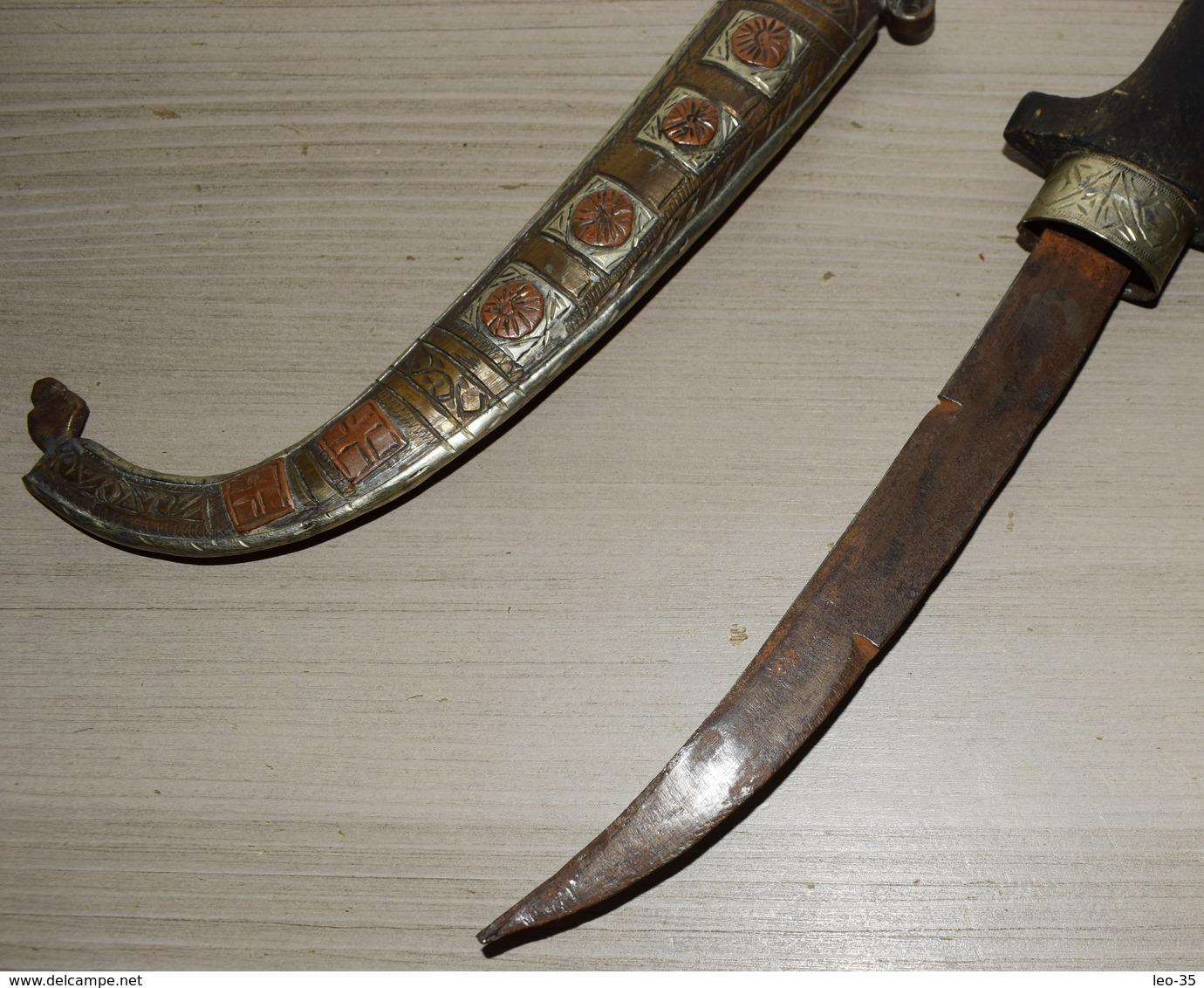 Couteau Poignard Marocain KOUMIA Fourreau En Métal Ciselé - 31.5 Cm - Knives/Swords