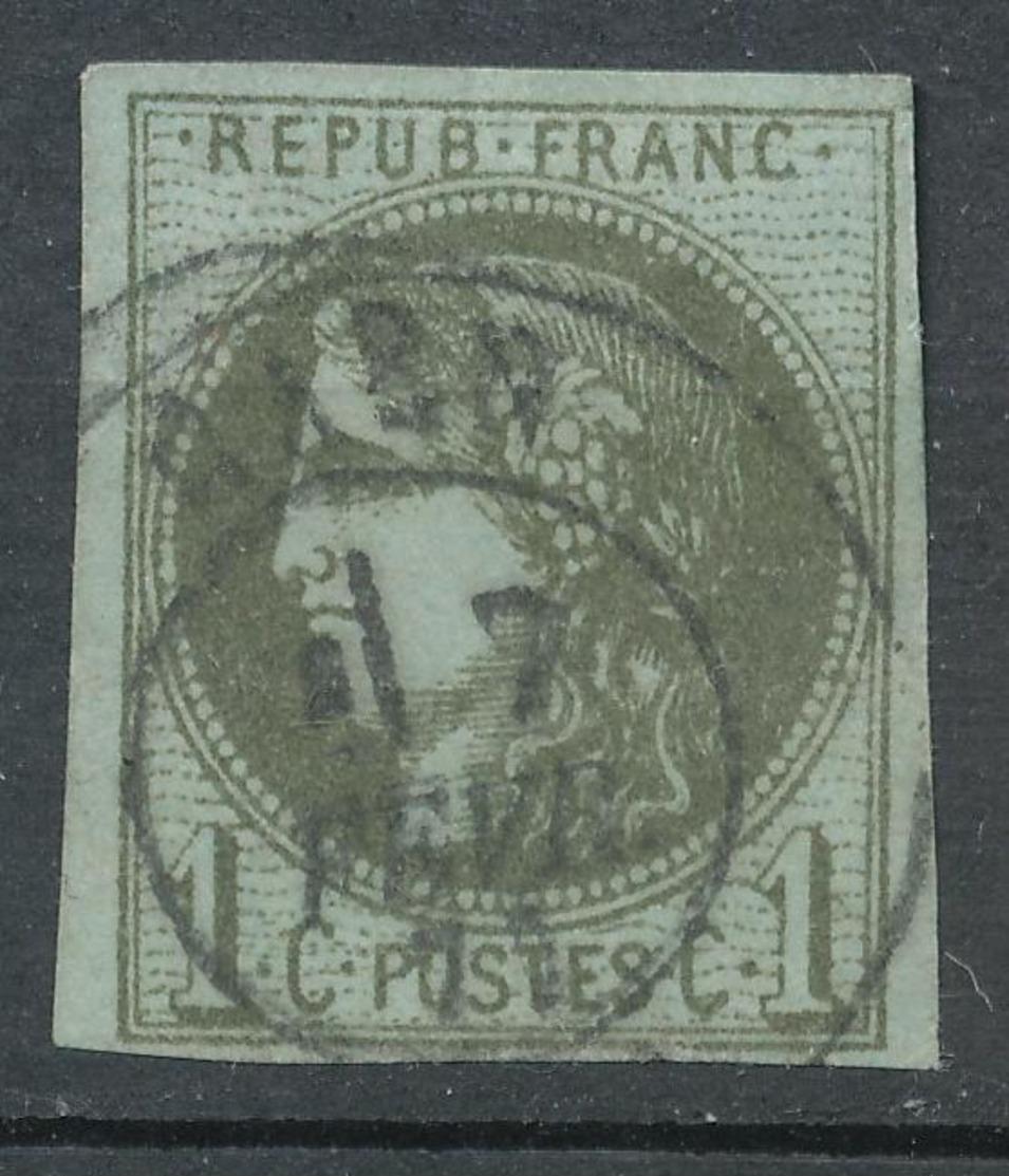 N°39 OLIVE FONCE CACHET A DATE. - 1870 Ausgabe Bordeaux