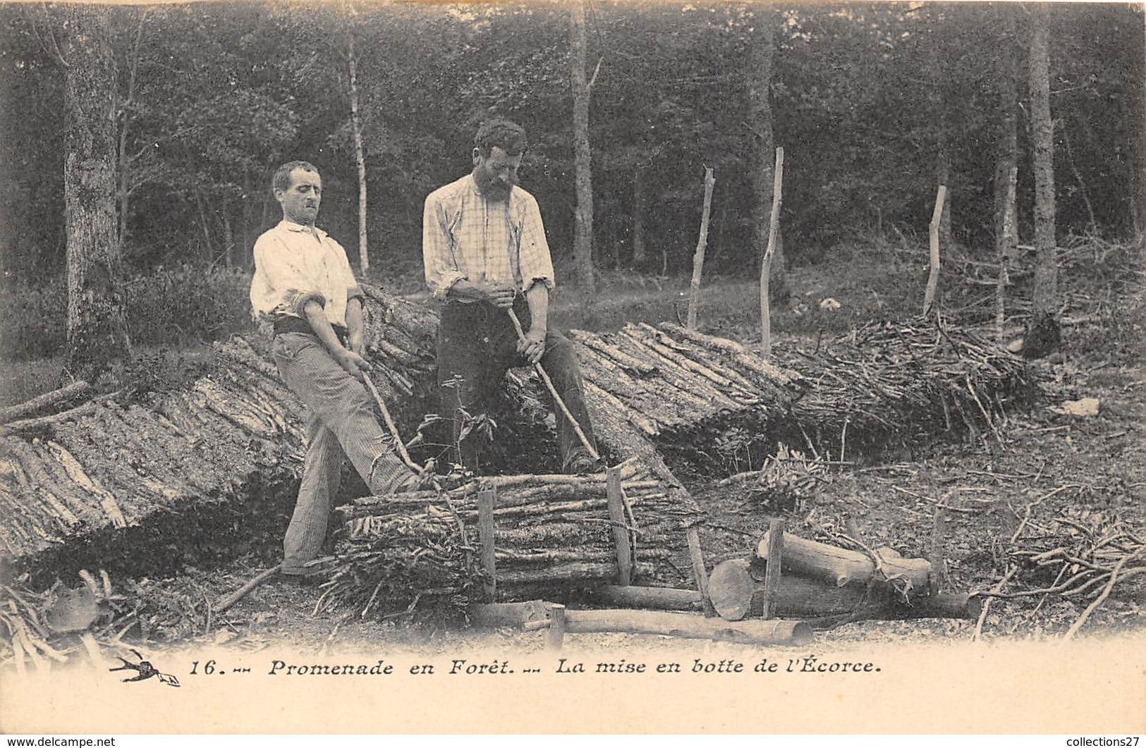 TRAVAIL DU BOIS- LA MISE EN BOTTE DE L'ECORCE - Métiers