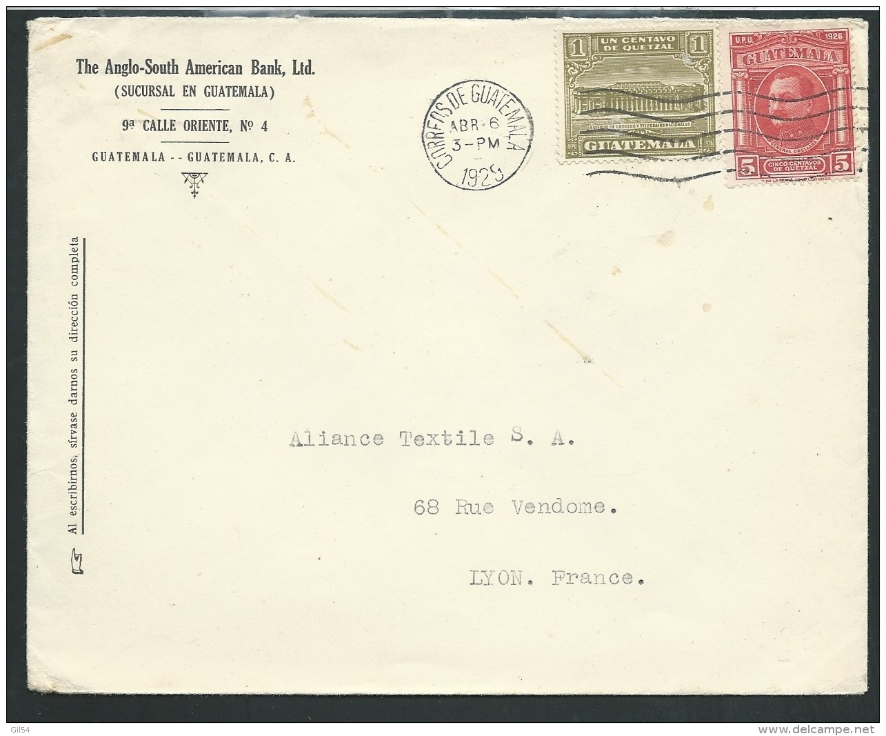 Guatemala - Lsc Affranchie Pour La France En 1929  -  Ax13701 - Guatemala
