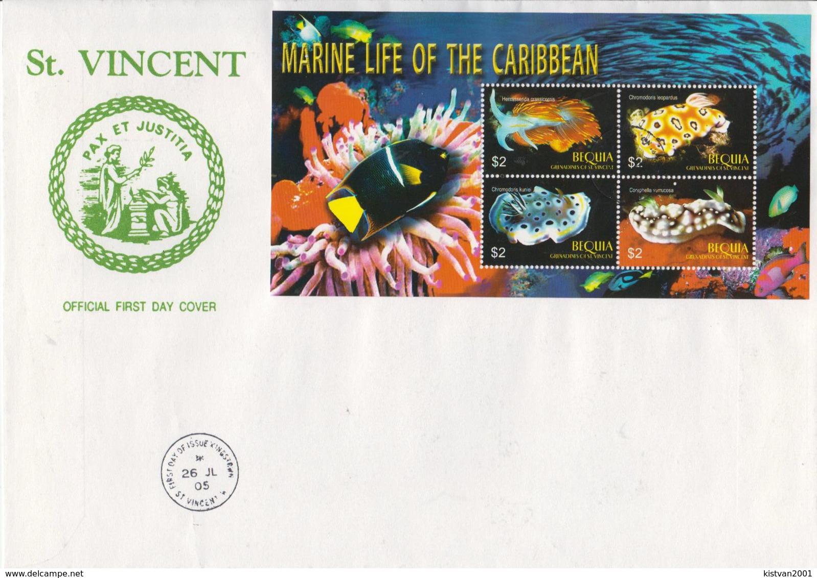 Bequya Marine Life Sheetlet On FDC - Maritiem Leven