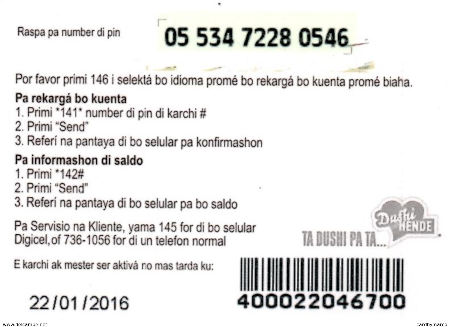 *ANTILLE OLANDESI - CURACAO* - Mini Card Usata - Antilles (Netherlands)