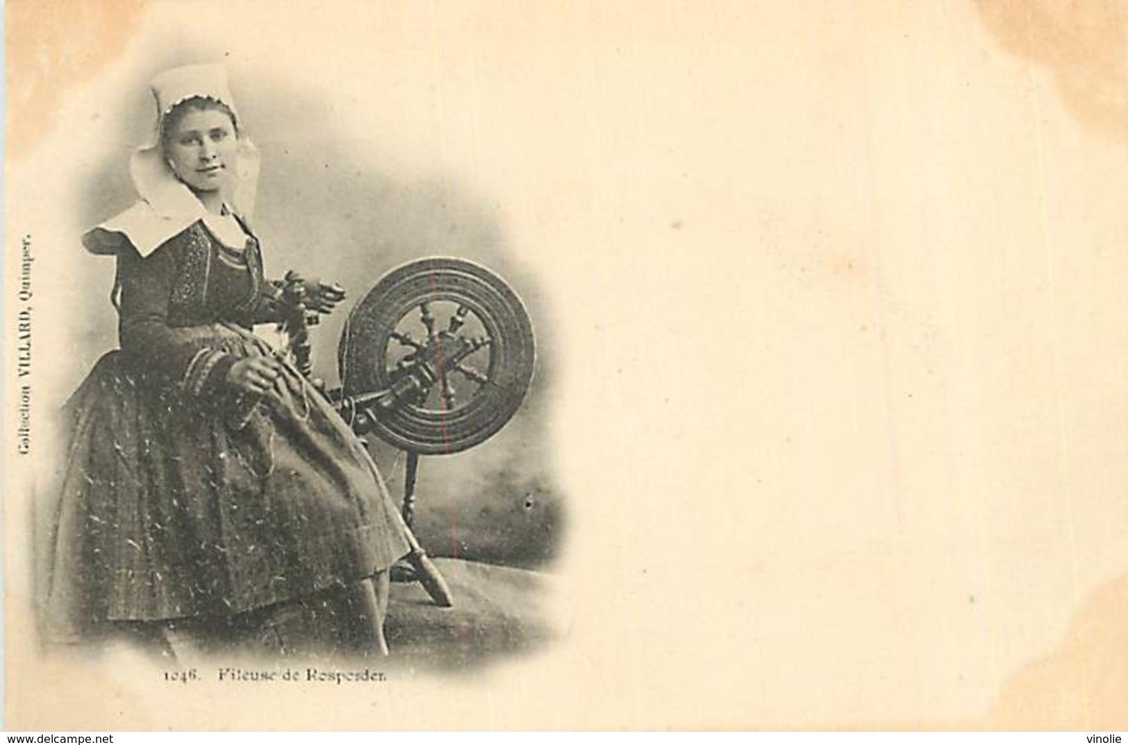 PIE-R-18-2155 : CARTE PRECURSEUR. JEUNE FEMME FILEUSE DE ROSPORDEN - Frankrijk