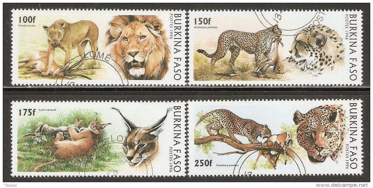 Burkina Faso 1996 Mi# 1437-1440 Used - Wild Cats - Roofkatten